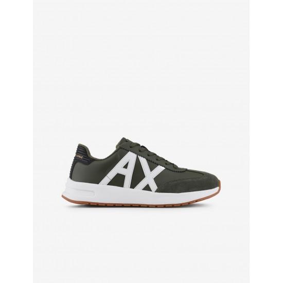 Armani Exchange Ανδρικά Δερμάτινα Λαδί Sneakers