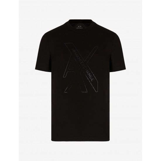 Armani Exchange Ανδρική Μπλούζα Κοντομάνικη Μαύρη