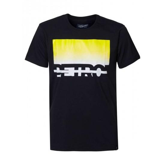 Petrol Ανδρική Μαύρη Κοντομάνικη Μπλούζα με Στάμπα