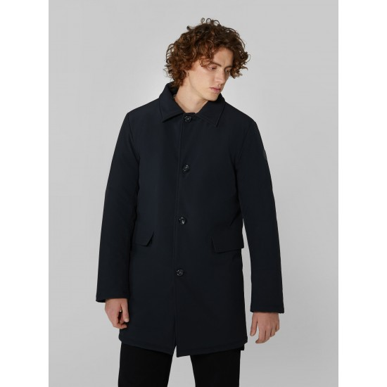 TRUSSARDI JEANS  OUTERWEAR CAR COAT TECHNICAL NEOPRENE BLACK PARKA